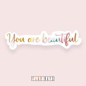 you are enough affirmation rainbow easy peel
